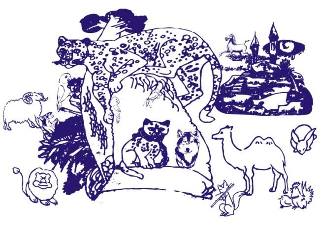 树木动物山林-线条画