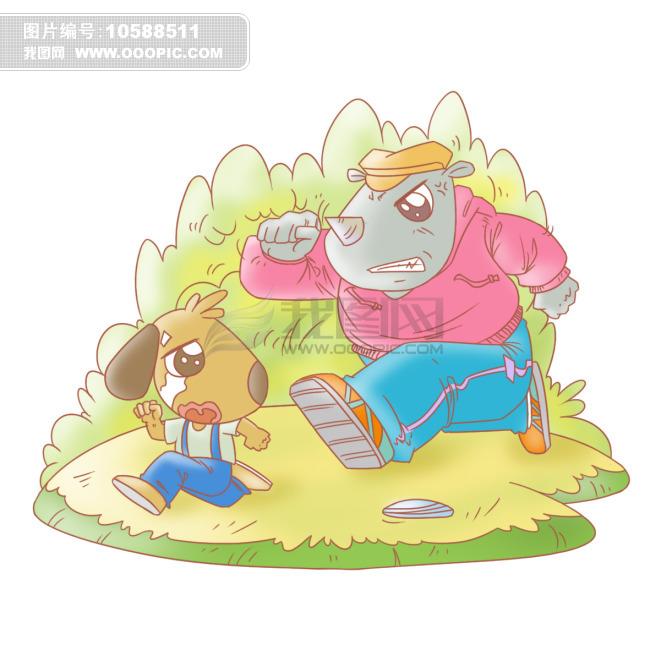 小狗与犀牛q版画