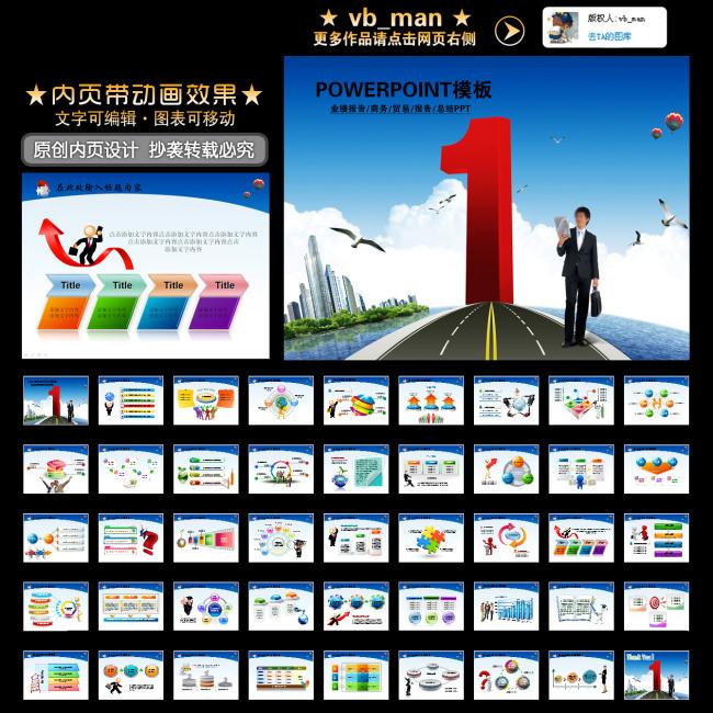 业绩报告商务贸易市场调研绩效ppt幻灯片模板下载