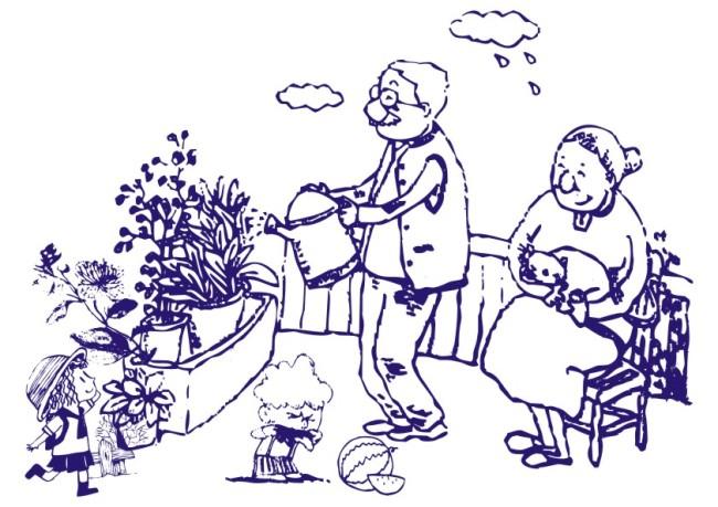 线条画 美工画 手描画 插画 画 白描图 人物画 西瓜 水果 奶奶 爷爷
