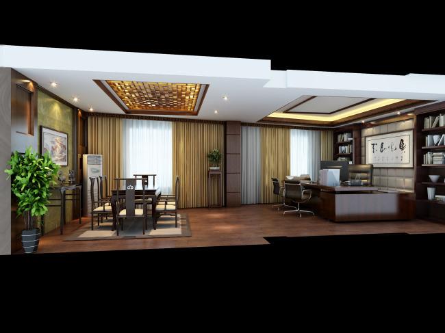 中式办公室模板下载 中式办公室图片下载 中式办公室模型 中式办公桌