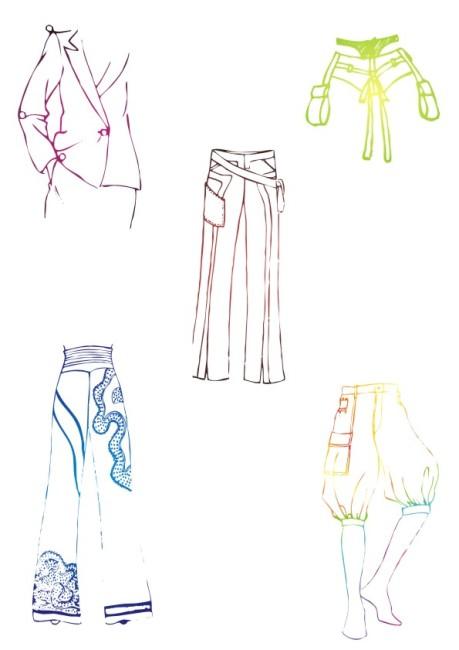 特别西裤-服装草图图片下载 服装设计 服饰设计 时装设计 裙子 裤子