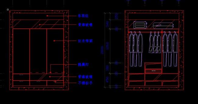 衣柜平面立面图