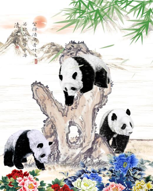水墨熊猫国画图片