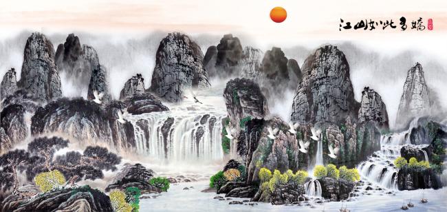 巨型长幅山水风景国画