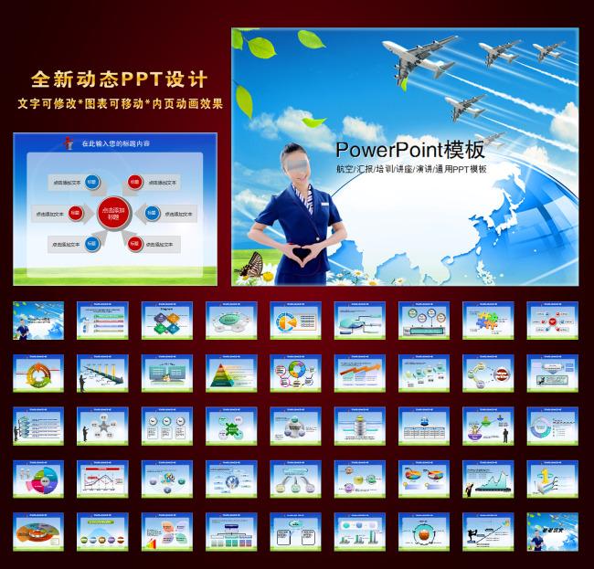 飞机航空公司业绩报告领航动画ppt下载