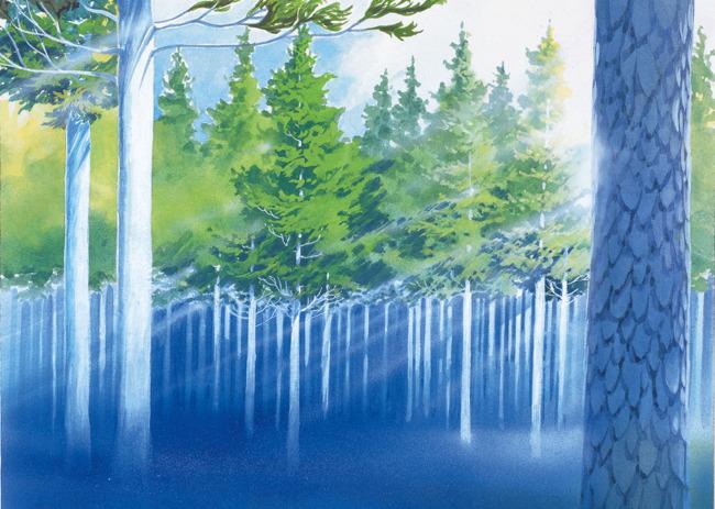 手绘水彩树林图片