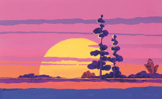 手绘风景[100p];; 日出 晚霞 风景; 卡通风景插画下载
