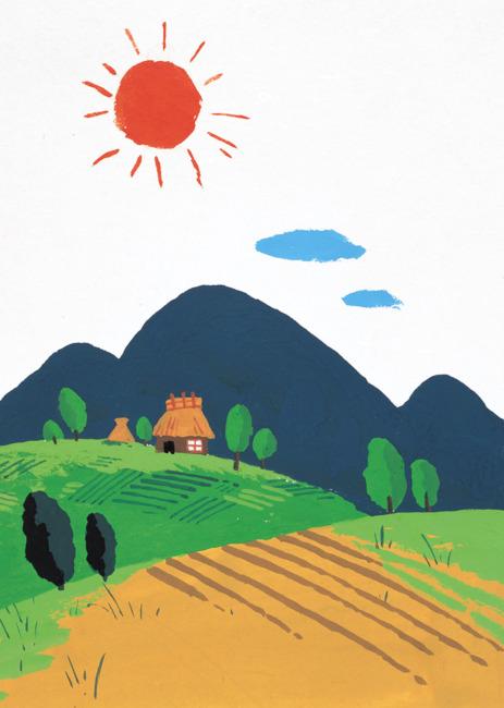 村庄 小镇风景插画