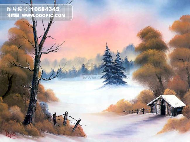 水彩 房子 风景 油画