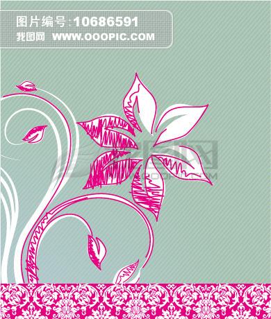矢量可爱手绘花卉背景