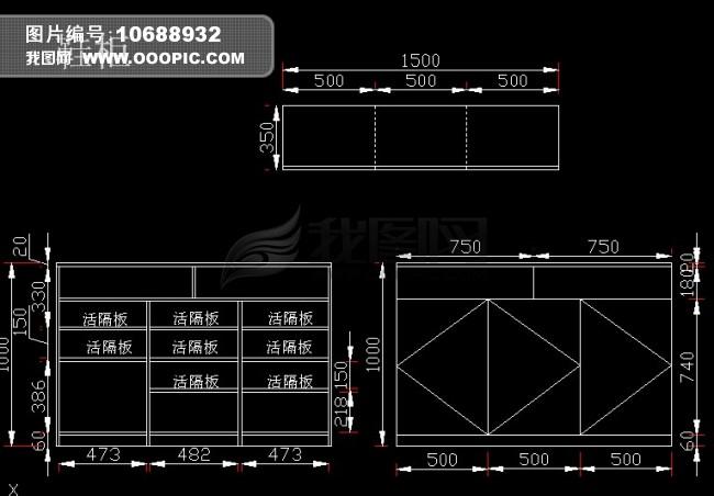 整套定制家具cad图纸含衣帽间和书柜设计模板下载(:)