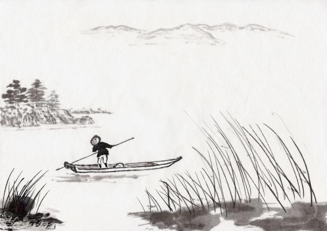 中国画 水墨画 手绘风景 风景插画 插图 中国风 中国文化 书法 古画