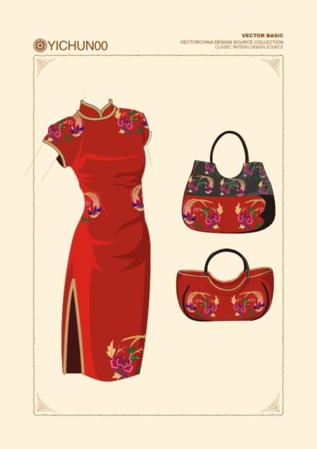 旗袍插画设计手袋图案设计图片