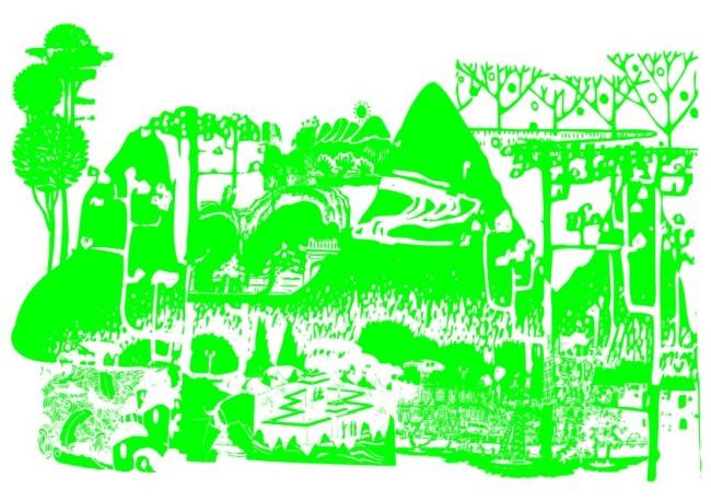 简笔画 线条画 美工画 手描画 插画 工笔画 美术插画 高山绿树 花草