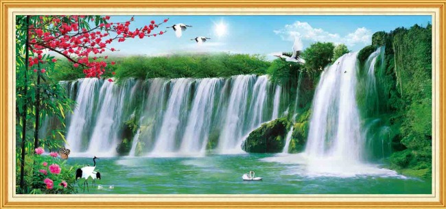 山水风景画模板下载 山水风景画图片下载 山水风景画 瀑布 桃花 河水