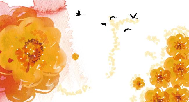 秋天水彩画水彩画图片大全简单水彩画图片; 秋意花朵水彩画图片下载