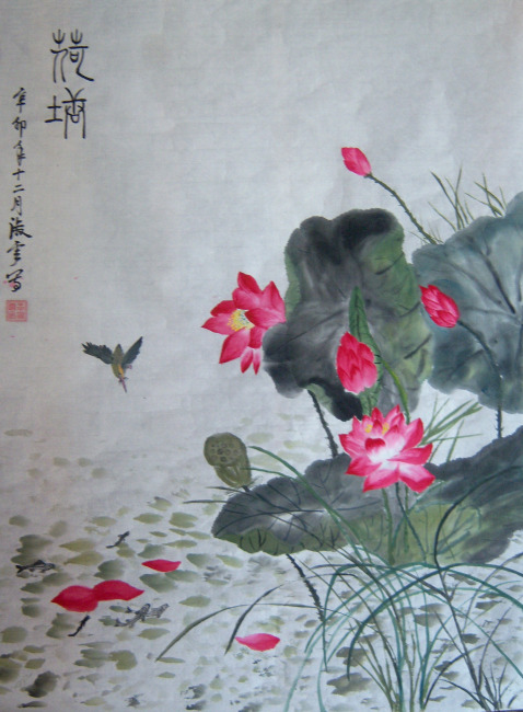 中国绘画图片下载 中国绘画 国画 中国画 水墨画 荷花 荷叶 小鸟 荷花