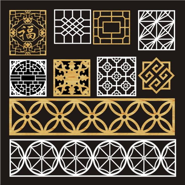 中式图案 花格门窗 隔断 雕刻镂空图案 雕花镂空图案 花格矢量图 说明