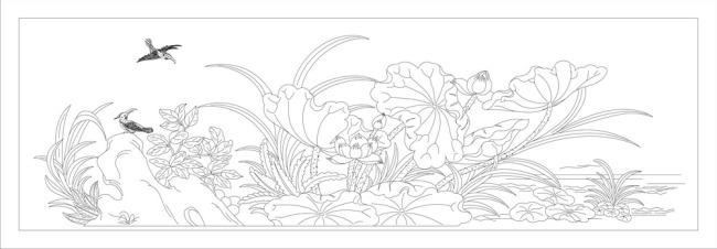 背景墙|装饰画 其他 雕刻图案 > 线描荷花