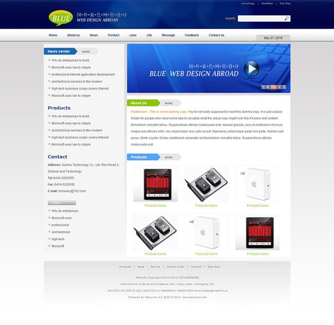 ui设计 网页设计模板 企业网站模板 > 国外蓝色企业静态页面+psd源