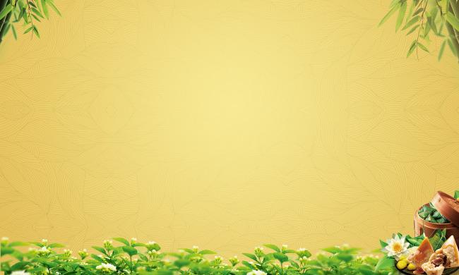 绿叶花边边框背景