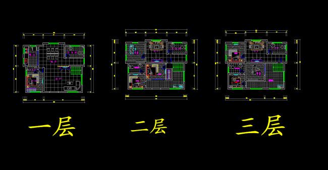 cad图库 室内设计cad图库 cad图纸 > 三层别墅设计平面布置图  下一张
