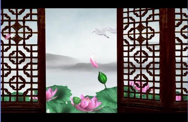 中国风山水动画画廊荷花仙鹤视频背景素材