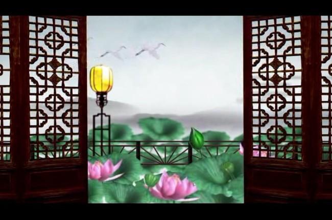 中国风山水动画荷花仙鹤高清视频背景素材