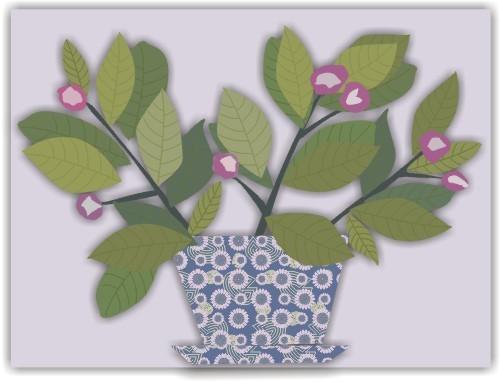 盆栽 小花盆 花枝 无框画