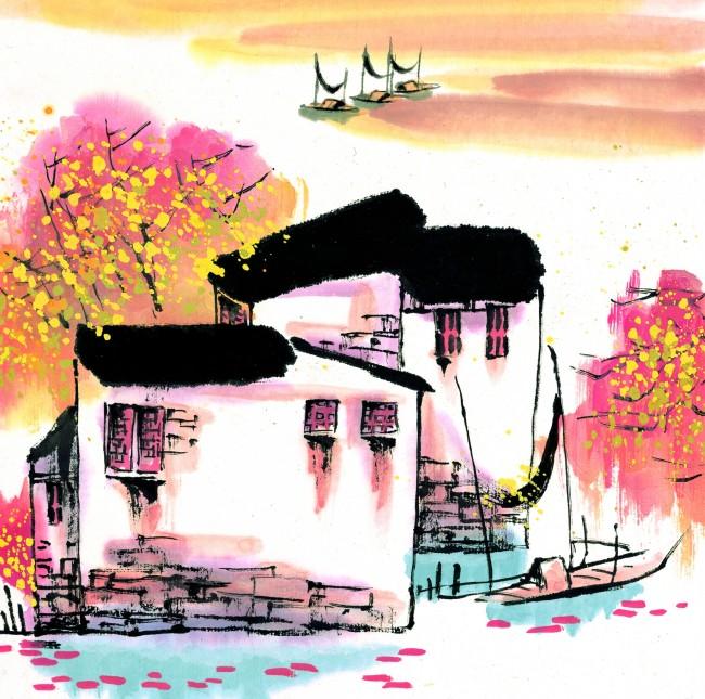 水墨画房子手绘