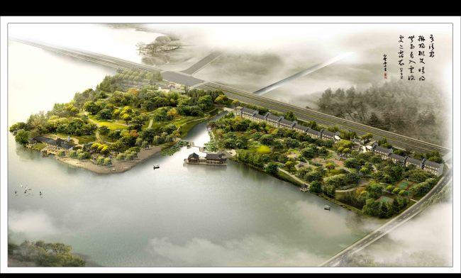 滨水公园景观规划鸟瞰图