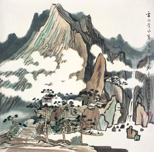 山峰 风景画 水墨画图片