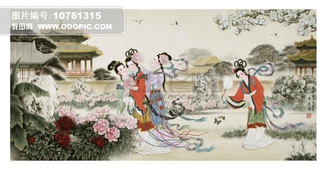 中国古代皇宫仕女图花园宫廷仕女图中国传统艺术图画立轴