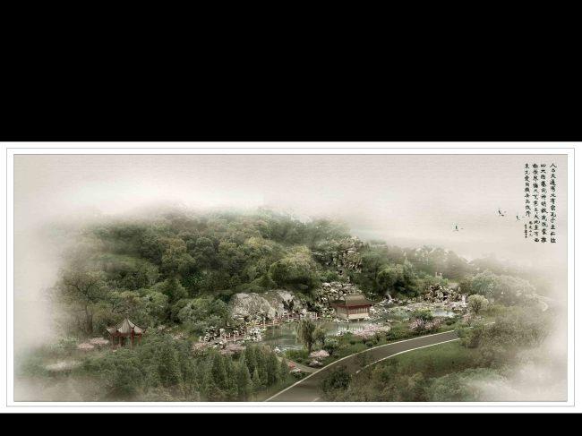 古典园林鸟瞰景观效果图