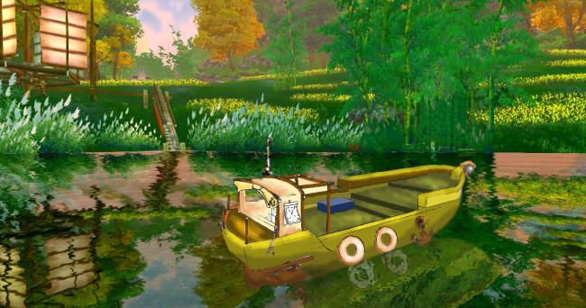 游戏场景小船手绘