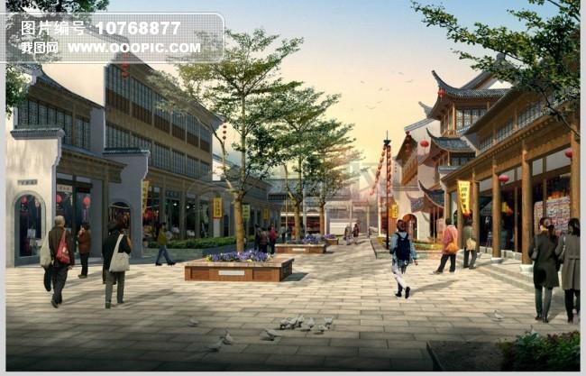 仿古商业街内部景观效果图图片
