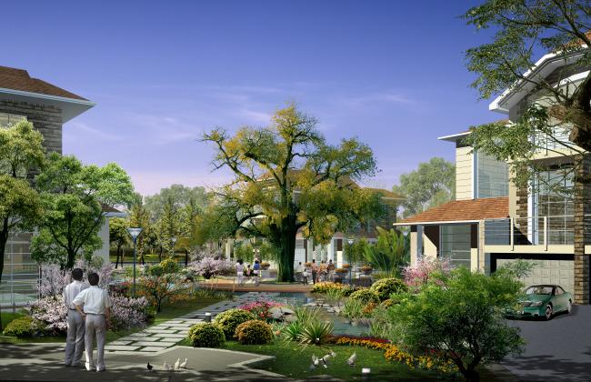 别墅居住区中心景观效果图