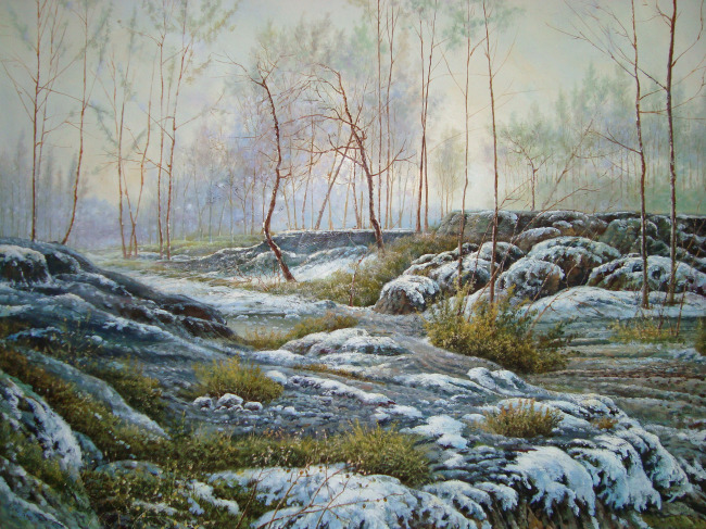 唯美 雪景/冬季雪景唯美油画图