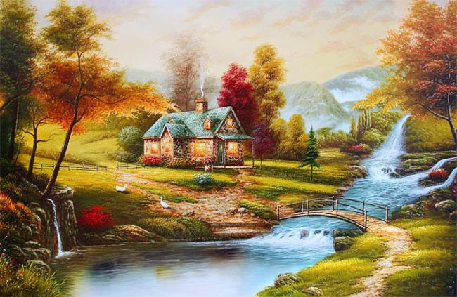 乡村唯美风景油画装饰图