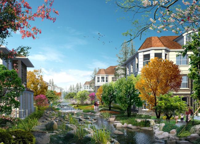 居住区水景设计效果图