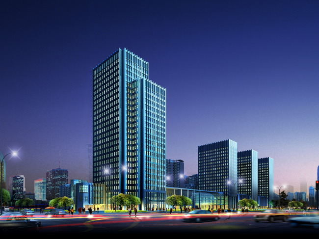 【psd】沿街商业建筑亮化夜景效果图