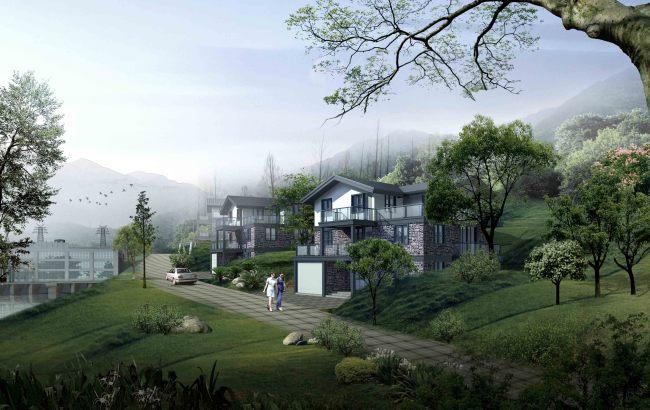 别墅区局部建筑景观效果图