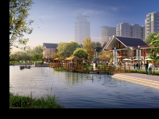 背景墙|装饰画 其他 园林景观设计 > 滨水中式商业街景观效果图图片