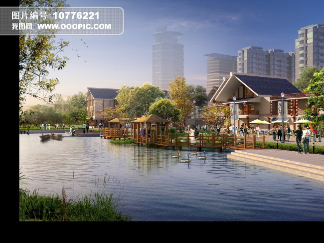 滨水中式商业街景观效果图下载图片