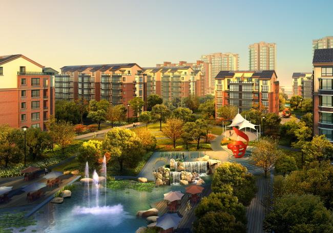 绿化 欧式亭子 欧式景观 楼间景观 中心景观 园林后期素材psd 叠水图片