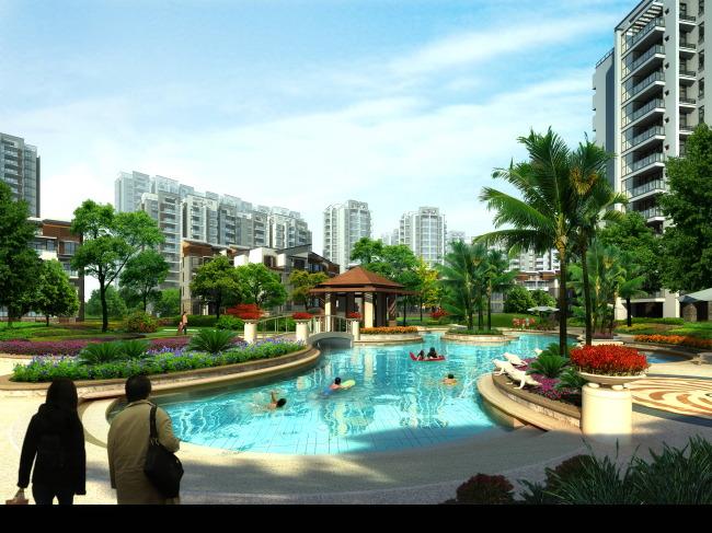 中式住宅中心景观效果图