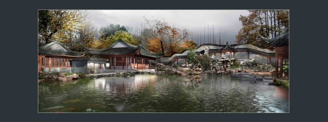 古典园林建筑长廊水景画卷景观效果图