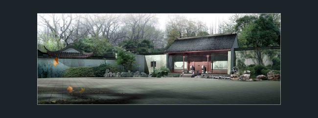 古典园林院落大门画卷景观效果图