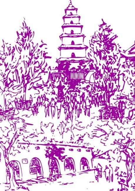 宝塔庄严-工笔画